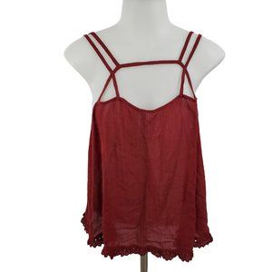 Intimately Free People Tank S Red Strappy Crochet